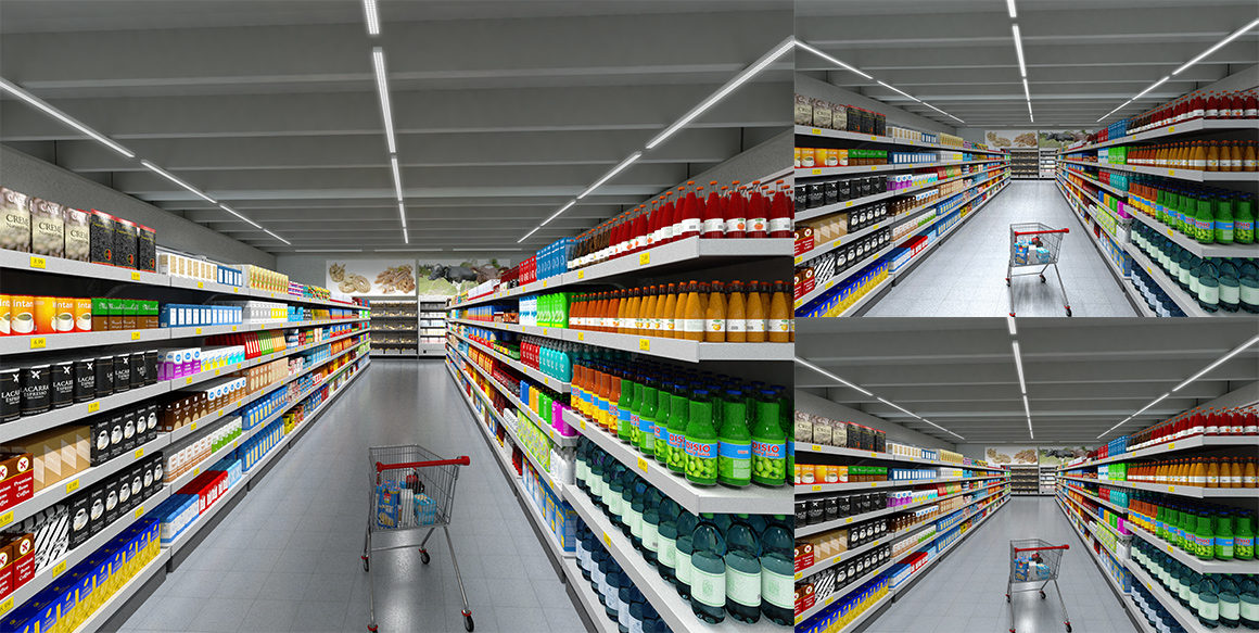 Picture of three different choices of lighting in one aisle. Example of retail lighting.