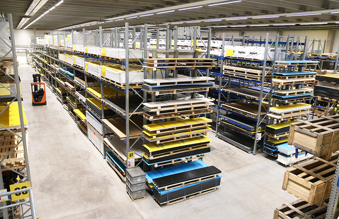 The new LED lighting at Vink Finland's high ceiling warehouse is glare-free and the light reaches all the way down in the high ceiling warehouse.